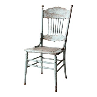 Antique Painted Press Back Dining Chair For Sale