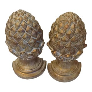 Classic Gold Tone Artichoke Bookends – a Pair