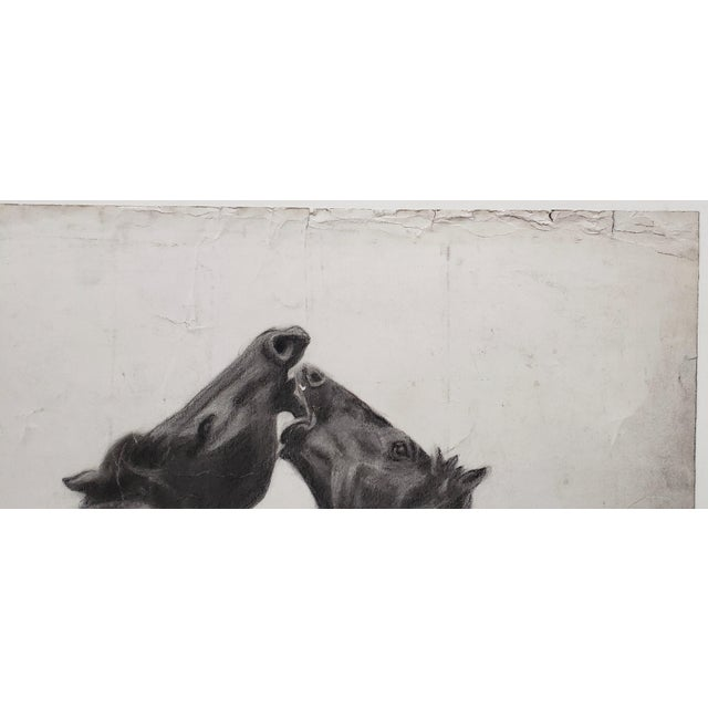 """Paper """"The Challenger"""" Original Charcoal on Paper Mid 20th Century For Sale - Image 7 of 10"""