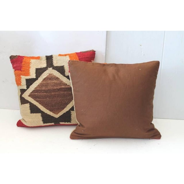 Pair of Early Navajo Indian Weaving Pillows For Sale - Image 4 of 5