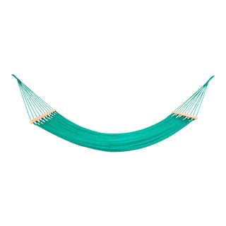 Handmade Teal Green Cotton Hammock with Wooden Bar For Sale