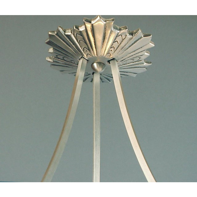 Art Deco Ornate French Lighting Bowl - Pendant - by Degué, With Nickel-Plated Hanging Device For Sale - Image 3 of 4