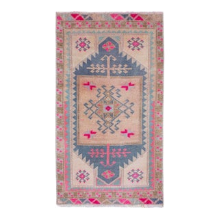 """Small Turkish Blue Rug Mat 1'7"""" X 2'8"""" For Sale"""