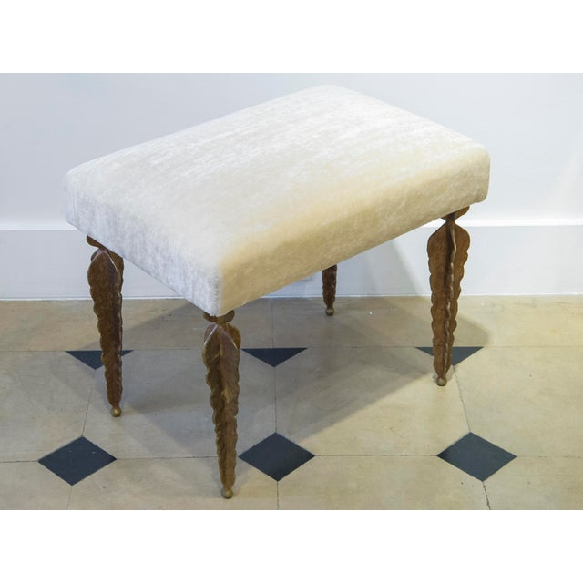 "Marc Bankowsky Fern Bench with four feet Velvet mohair (""Teddy"" fabric from Maison Pierre Frey), gilded bronze France,..."
