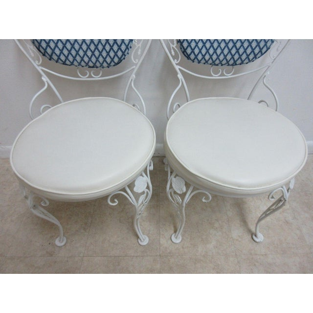 Traditional Vintage Woodard Wrought Iron Out Door Patio Chairs - A Pair For Sale - Image 3 of 7