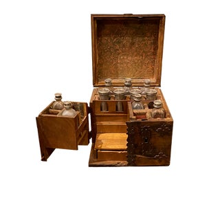 19th Century Apothecary Box With Bottles and Canisters For Sale