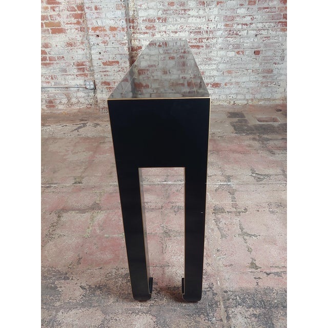 Fine Black Lacquer Console Table With 3 Drawers For Sale - Image 9 of 10