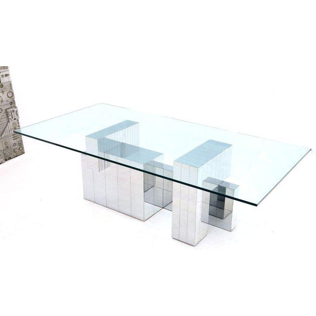 Silver Paul Evans for Directional Large Chrome Glass Top Dining Conference Table For Sale - Image 8 of 13