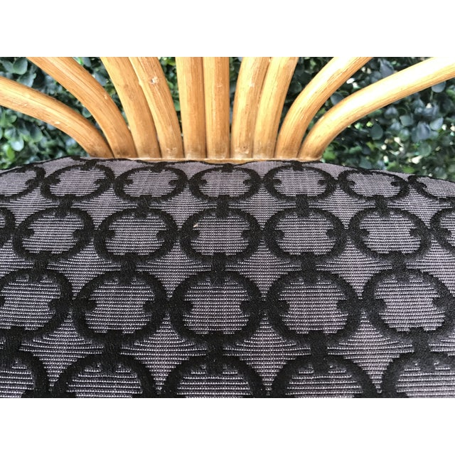 Black 1970's Vintage Bent Bamboo Dining Upholstered Chairs - Set of 4 For Sale - Image 8 of 11