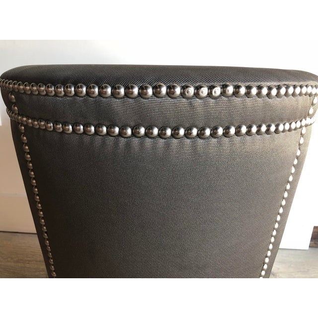 Moire Upholstered Stool With Chrome Nail Heads For Sale In Miami - Image 6 of 7