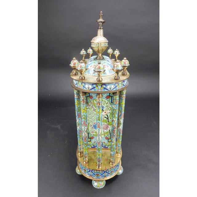 "Metal Chinese Export Bronze and Cloisonné Mantle Clock Excellent Working Condition 19"" For Sale - Image 7 of 13"