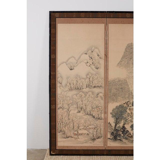 Asian Japanese Six Panel Meiji Landscape Screen For Sale - Image 3 of 13