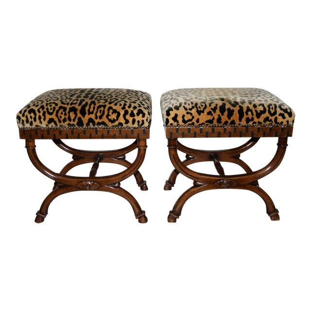 Pair of William Switzer Carved Curule Benches For Sale