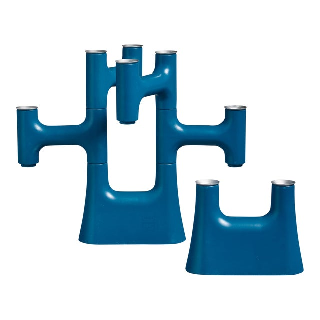 Pair of Blue Candle Holders For Sale