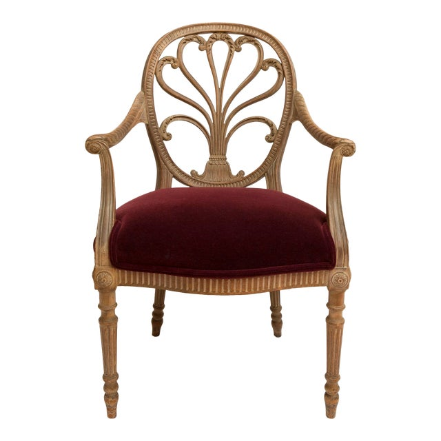 19th Century Regency Bleached Wood Armchair For Sale