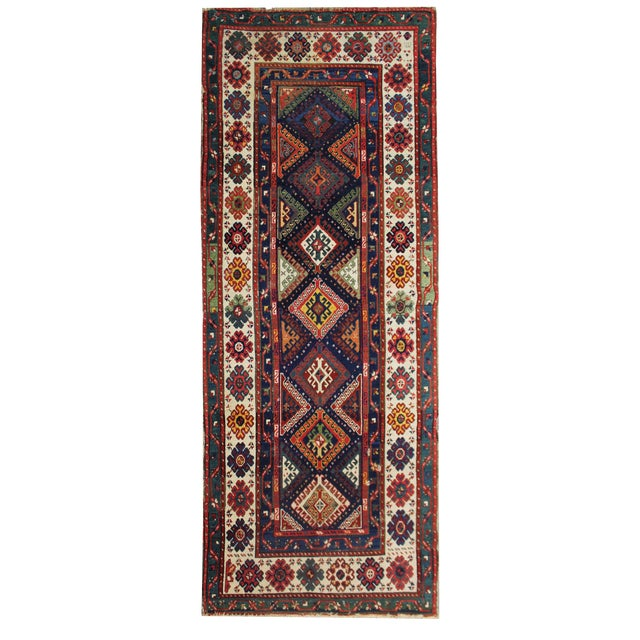 Late 19th Century Antique Hand-Knotted Talish Kazak Rug - 3′4″ × 8′4″ For Sale
