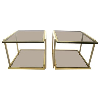 Pair Smoked Glass and Brass Tables by Tommaso Barbi For Sale