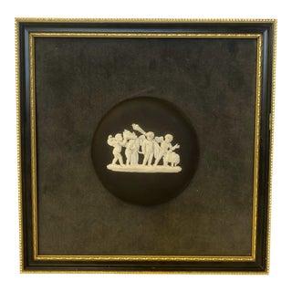 Vintage Wedgwood Black Jasperware Medallion Plaque For Sale