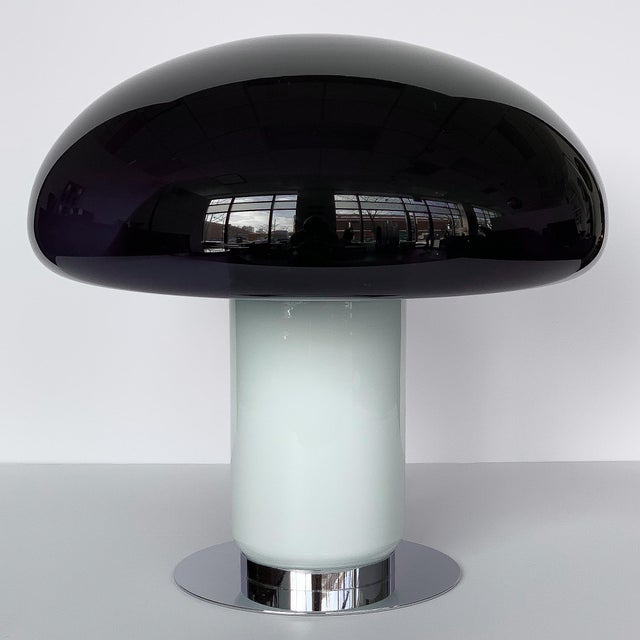 Mid-Century Modern Vistosi Purple / Amethyst Murano Glass Mushroom Table Lamp For Sale - Image 3 of 13