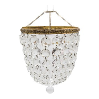 Antique French Gilded Brass & Crystals Bag Chandelier For Sale