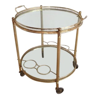Mid Century Brass Round Rolling Serving Table With Removable Gallery Tray Top and 4 Bottle Holders For Sale