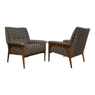 Geometric Grey Lounge Chairs - A Pair