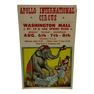 "Vintage Circus Poster ""Apollo Int. Circus"" 1960 For Sale"