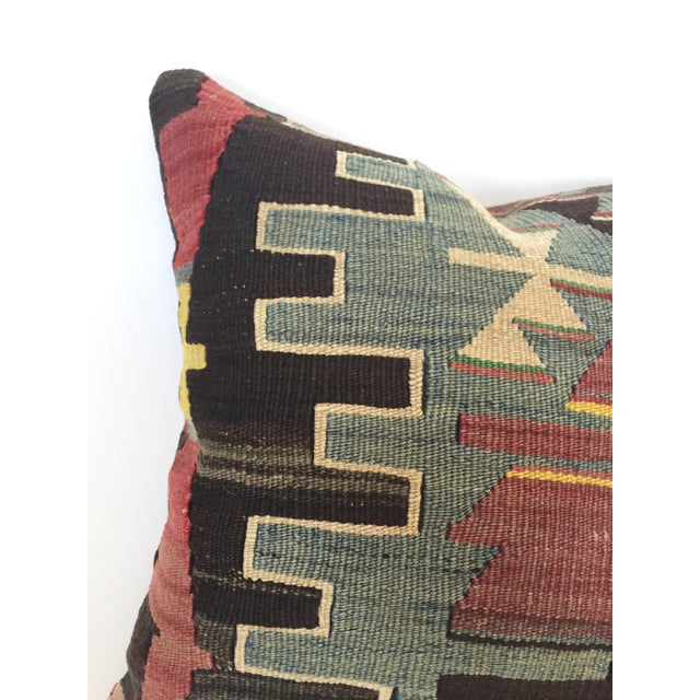 Boho Chic Vintage Turkish Kilim Square Pillow Cover For Sale - Image 3 of 5
