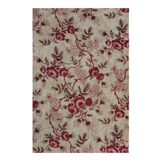 1850 Antique Quilted Pink & Red Floral Chintz Fabric For Sale