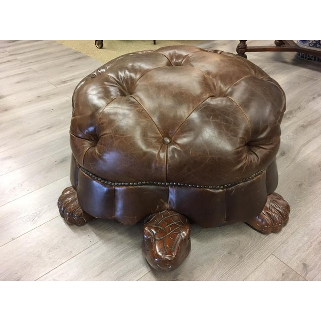 Brown Leather Tufted Turtle Ottoman For Sale In New York - Image 6 of 6