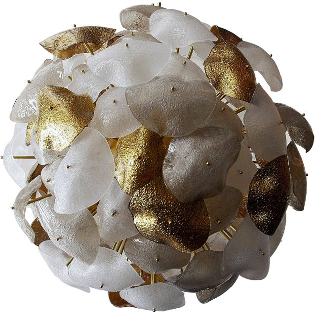Italian chandelier with hand blown frosted, gray and gold Murano glass shades mounted on a spherical brass frame /...
