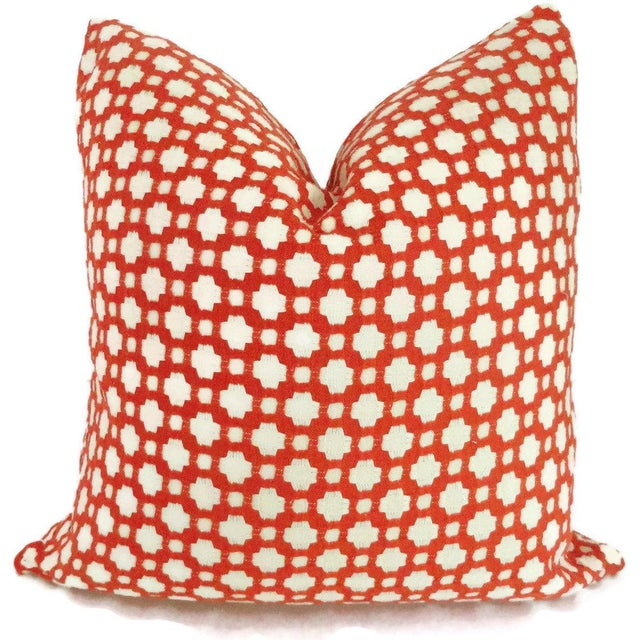 Add a pop o' orange to your decor with this woven red orange and ivory pillow cover. This gorgeous fabric looks great...