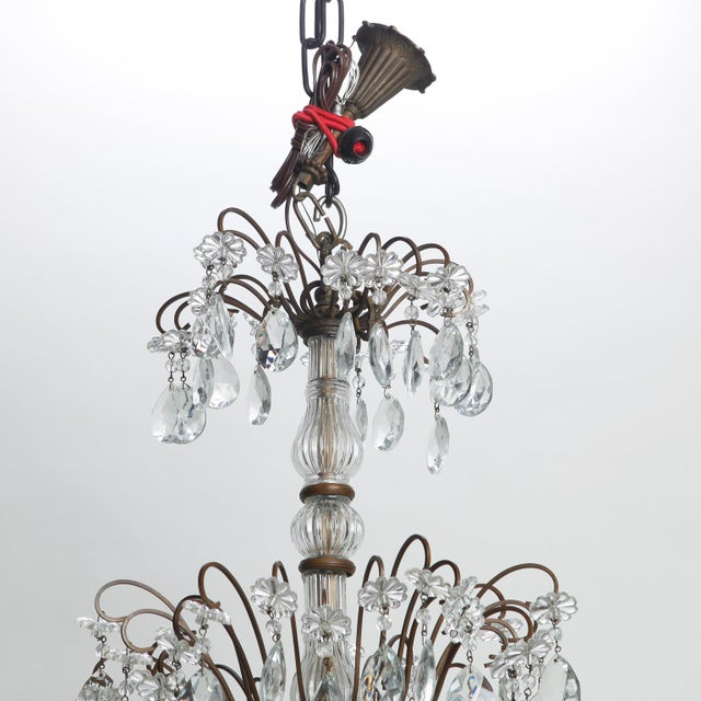 Early 20th Century Italian Three Tier Crystal Chandelier with Dark Metal Frame For Sale - Image 5 of 6