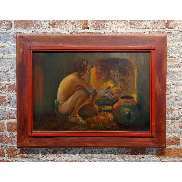 "Taos Pueblo ""Indian by the Fireplace"" Native American Oil Painting For Sale - Image 9 of 9"