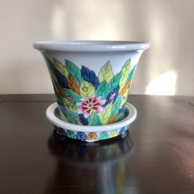 Late 20th Century Chinoiserie Porcelain Tobacco Leaf Planter For Sale - Image 5 of 5