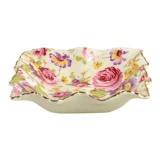 Pink Floral James Kent (England) Small Square Server For Sale
