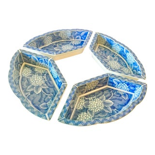 Vintage Mid-Century Chinoiserie Blue and White Dishes - Set of 4 For Sale