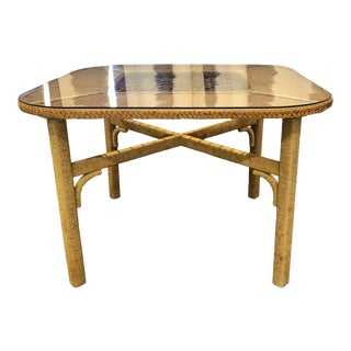 1970s Boho Chic Henry Link Rattan Wrapped Wicker Dining Table For Sale