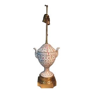 1960s Chintz Porcelain Gold Lattice & Egyptian Face Urn Handled Double Socket Lamp For Sale