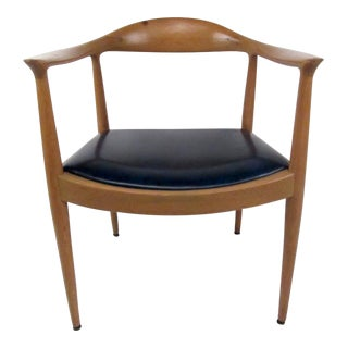 Vintage Wishbone Style Armchair For Sale