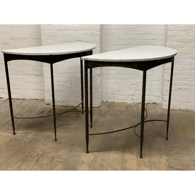 Pair of French Wrought Iron and Carrara Marble-Top Demilune / Console Tables. Great look for outdoors as well.