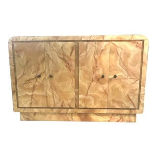 1980s Vintage Regency Marble Formica Storage Waterfall Cabinet Buffet For Sale