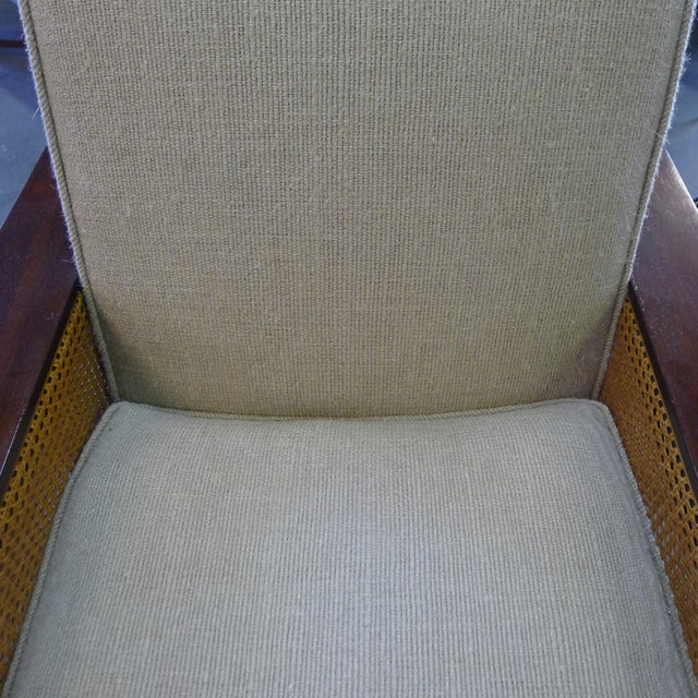 Textile Paul Marra Max Walnut & Cane Club Chair For Sale - Image 7 of 8