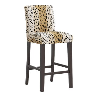 Bar stool in Linen Leopard Caramel For Sale