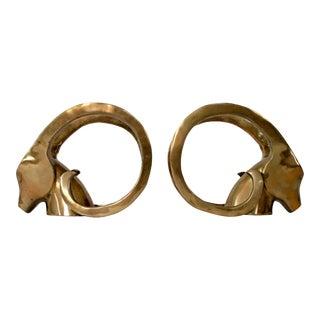 Brass Ibex Bookends - a Pair