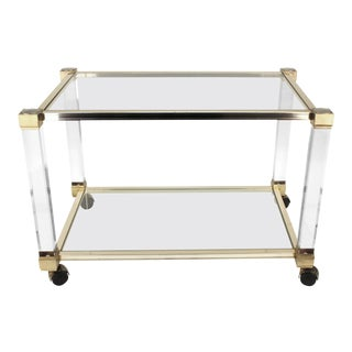 1970s Pierre Vandel Chrome and Glass Bar Cart For Sale