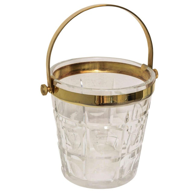 Hollywood-Regency Ice-Bucket in Crystal With Brass Accents: American, 1940s For Sale - Image 11 of 11