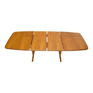 Danish Teak 2 Self Containing Extension Boards Dining Table For Sale