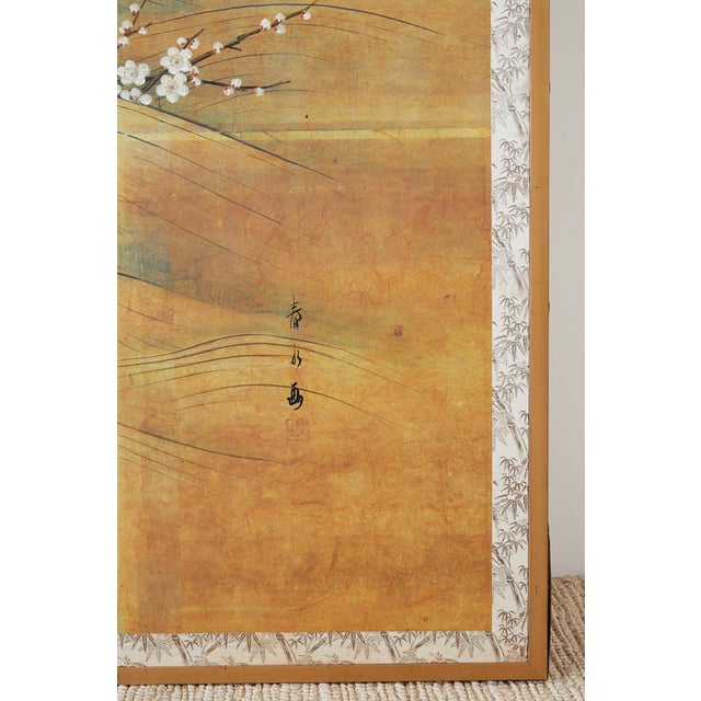 Japanese Edo Style Four-Panel Spring Landscape Screen For Sale - Image 9 of 13