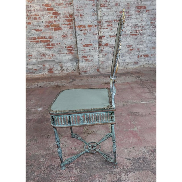 19th Century Bronze Vanity Chair W/ Lions Heads For Sale - Image 4 of 10